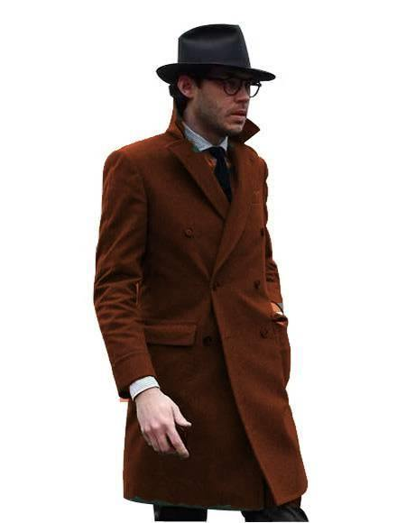 Double Breasted - Three Quarter Coat - Cashmere And Wool Topcoat + Style# Manhattan Brown