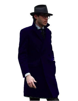Double Breasted - Three Quarter Coat - Cashmere And Wool Topcoat + Style# Manhattan Navy Blue