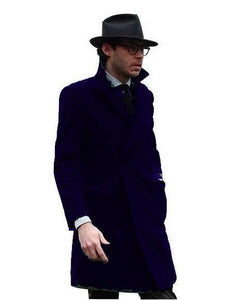 Double Breasted - Three Quarter Coat - Cashmere And Wool Topcoat + Style# Manhattan Navy Blue - AlbertoNardoniStore