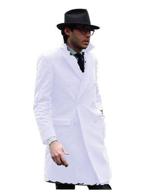 Double Breasted - Three Quarter Coat - Cashmere And Wool Topcoat + Style# Manhattan Off-White - AlbertoNardoniStore