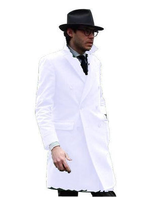 Double Breasted - Three Quarter Coat - Cashmere And Wool Topcoat + Style# Manhattan White - AlbertoNardoniStore