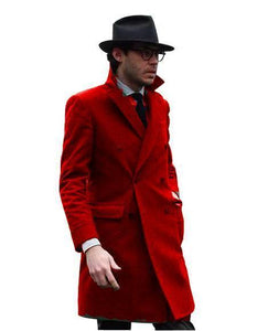 Double Breasted - Three Quarter Coat - Cashmere And Wool Topcoat + Style# Manhattan Hot Red - AlbertoNardoniStore