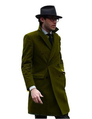 Double Breasted - Three Quarter Coat - Cashmere And Wool Topcoat + Style# Manhattan Dark Olive - AlbertoNardoniStore