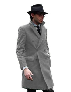 Double Breasted - Three Quarter Coat - Cashmere And Wool Topcoat + Style# Manhattan Tan