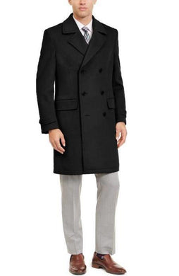 Manhattan 34 Inch Double Breasted Mens Overcoat - Mens Topcoat