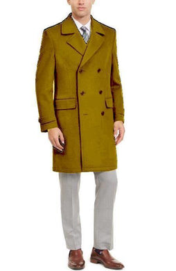 Manhattan 34 Inch Double Breasted Mens Overcoat - Mens Topcoat - Camel