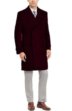 Manhattan 34 Inch Double Breasted Mens Overcoat - Mens Topcoat - Brown