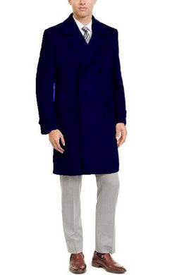Manhattan 34 Inch Double Breasted Mens Overcoat - Mens Topcoat - Navy Blue