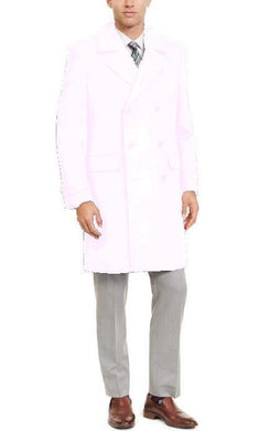 Manhattan 34 Inch Double Breasted Mens Overcoat - Mens Topcoat - IVORY