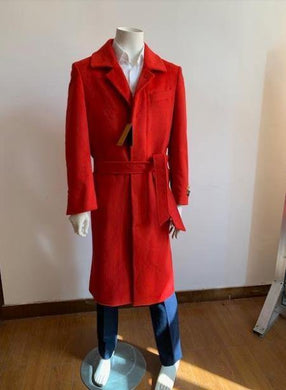 Full Length Overcoat - Wool Belted Topcoat Red