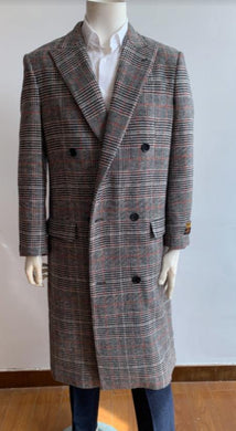 Glain Plaid - Windowpane - Checkered Pattern Double Breasted Style Double Breasted Overcoat - Wool Top Coat - Full Length Coat Gray