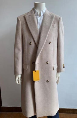 Double Breasted Overcoat - Wool Top Coat - Full Length Coat Cream