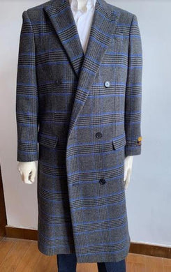 Double Breasted Overcoat - Wool Top Coat - Full Length Coat Dark Gray