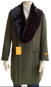 Big and Tall Peacoat - Mens Big and Tall Peacoat - Olive - AlbertoNardoniStore
