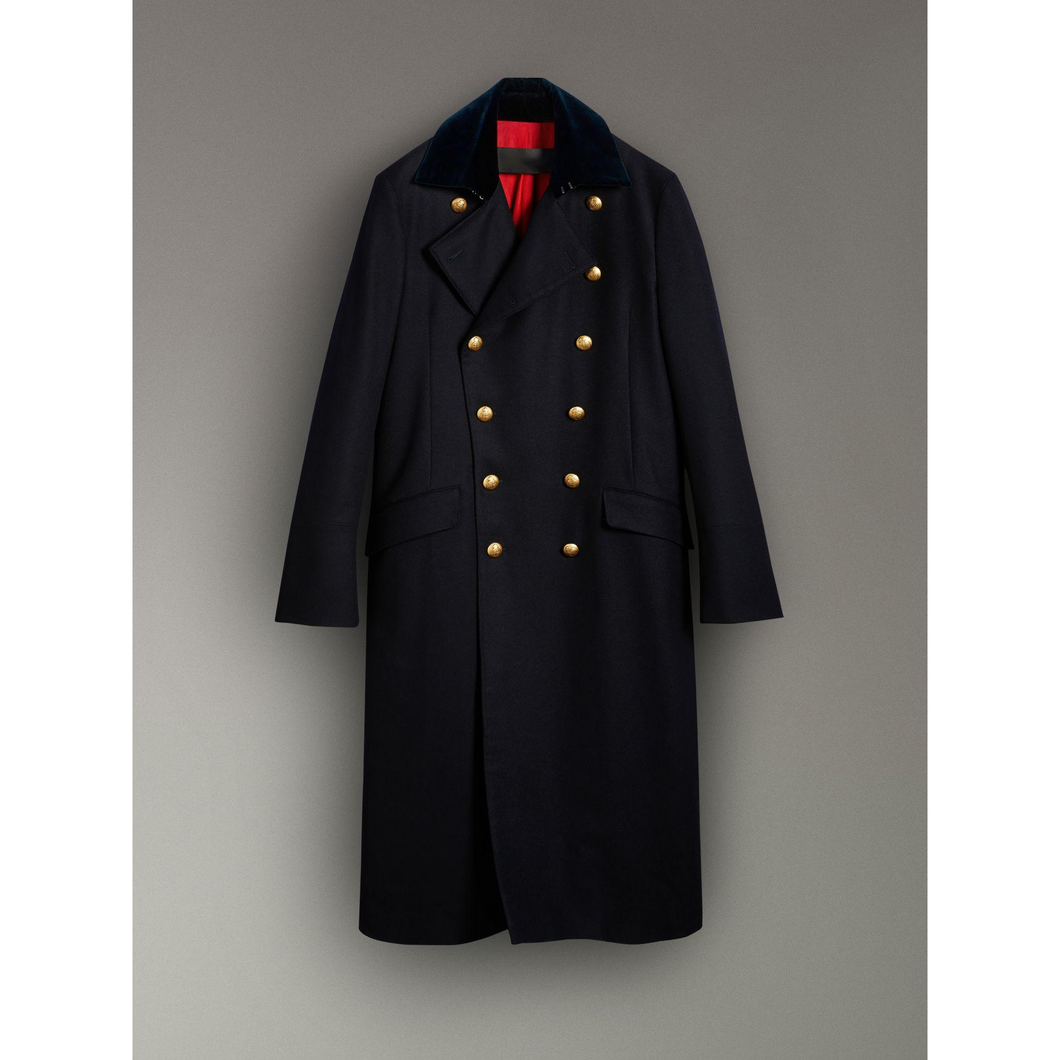 Wool Military Coat In Dark - AlbertoNardoniStore