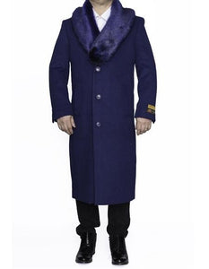 Moscow: INDIGO BLUE REMOVABLE FUR COLLAR MENS FULL LENGTH OVERCOAT