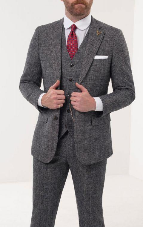 Loch Hart of Scotland Prince of Wales Check Tweed 3 Piece Suit - AlbertoNardoniStore