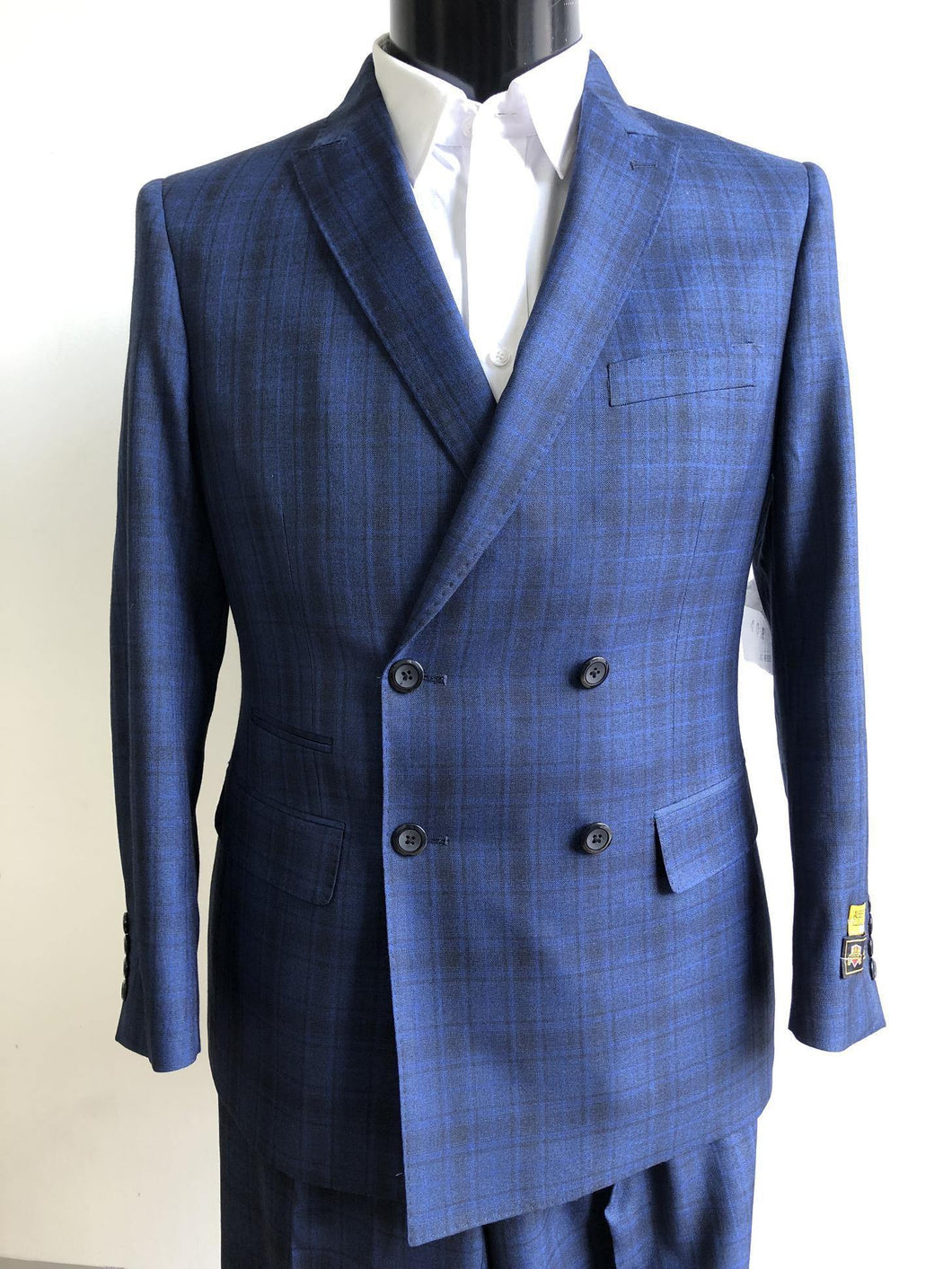 Mens Indigo Plaid Suits Downtown Los angeles - Suits LA $149