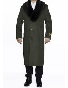 Moscow: MENS FULL LENGTH REMOVABLE FUR COLLAR OLIVE GREEN - MENS TOPCOAT / OVERCOAT