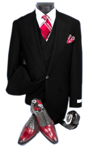 Mens Suits Detroit Michigan - Gadson-54 Black - Wholesale Mens Suits - Wholesale Suits