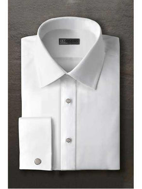 Evan White Laydown Tuxedo Shirt With Frenched Cuffed Regular Fit