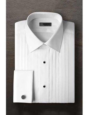 Vincent Regular Fit Pleated Laydown Tuxedo Shirt With Frenched Cuffed Ted Baker Brand White