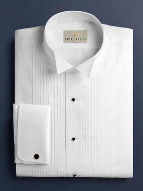 White Russ Pleated Wingtip French Cuff Tuxedo Shirt With Pleats Regular Fit