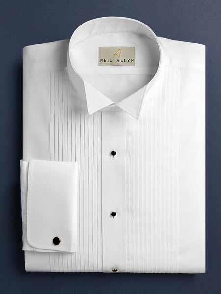 White Russ Pleated Wingtip French Cuff Tuxedo Shirt With Pleats Regular Fit - Wholesale Tuxedo Shirt