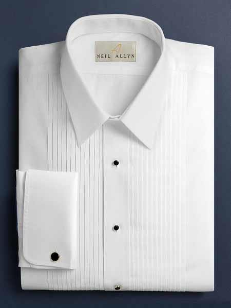 Dalby Solid Pleated Laydown White Tuxedo Shirt With Pleats