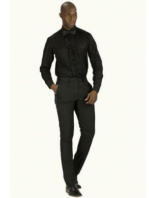 Men's Slim Fit Tuxedo Shirt With Ruffled Center, Removable Buttons Also Available In Black - Wholesale Tuxedo Shirt