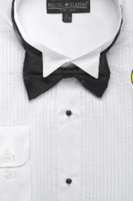 Men's Wing Tip Tuxedo Shirt With Bow Tie