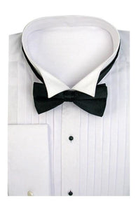 Tuxedo Wing Collar With Bow-Tie Set French Cuff White Men's Dress Shirt
