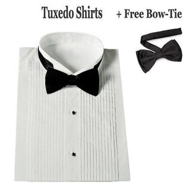 Stylish Tuxedo Wing Collar With Bow-Tie Set White Men's Dress Shirt