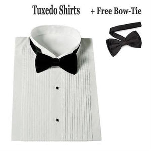 Stylish Tuxedo Wing Collar With Bow-Tie Set White Men's Dress Shirt - Wholesale Tuxedo Shirt