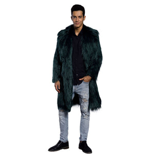 Mens Faux Fur Coats Jacket Fur Men GreenThick Fake Coat Men Long Jacket Faux Leather Coats