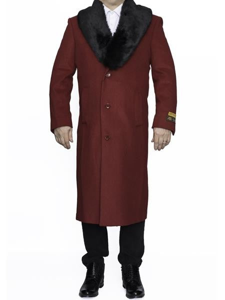 Moscow: MENS RED REMOVABLE FUR COLLAR FULL LENGTH TOP COAT / OVERCOAT
