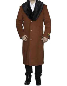 Moscow: RUST REMOVABLE FUR COLLAR WOOL FULL LENGTH - MENS TOPCOAT / OVERCOAT