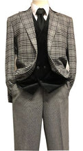Load image into Gallery viewer, Stacy Adams Black White Plaid Jacket Velvet Vest Suit