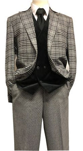 Stacy Adams Black White Plaid Jacket Velvet Vest Suit