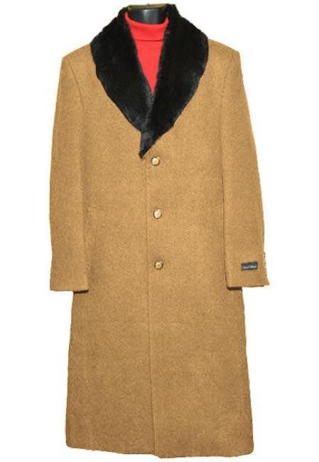 Moscow: MENS FUR COLLAR CAMEL WOOL OVERCOAT FULL LENGTH - MENS TOPCOAT