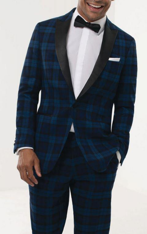 Blue Tartan Tuxedo with Contrast Peak Lapel