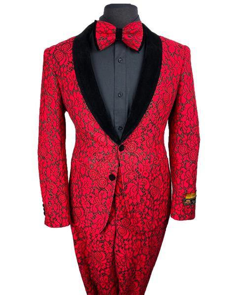 Prom Tuxedo For Men -  Floral Prom Suit - Vienna-Dark-Rojo-Lace - AlbertoNardoniStore