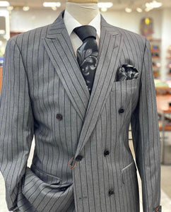 Grey Black Lined Double Breasted Suit - Mens Wholesale Suit - AlbertoNardoniStore