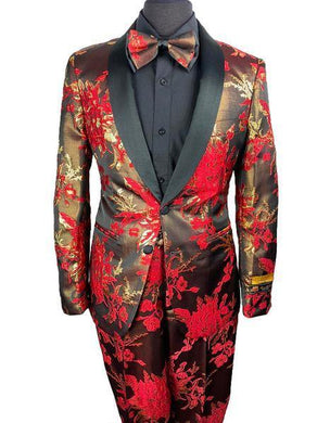 Floral Prom Suit - Vienna-Red/Black