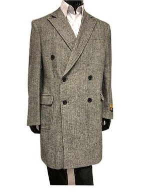 Men's Double Breasted Wool Cashmere Coat Knee Length Gray Alberto Manhattan IS