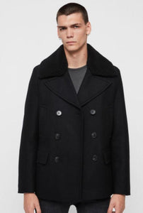 Men's Wool Double Breasted Bond Peacoat - Black