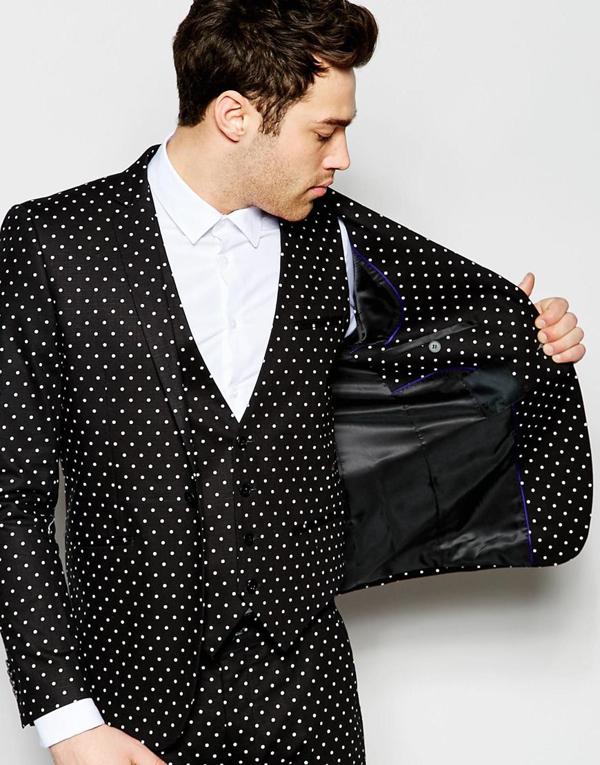 Polk Dot Suit Black and White - Mens Wholesale Blazers - AlbertoNardoniStore
