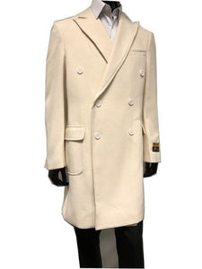 Men's Double Breasted Wool Cashmere Coat Knee Length Cream Alberto Manhattan IS