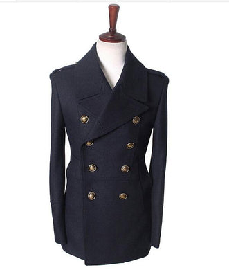 Wholesale-gothic those days clothing british winter slim fit Navy blazer wool mens pea coat trench long jackets coats for men