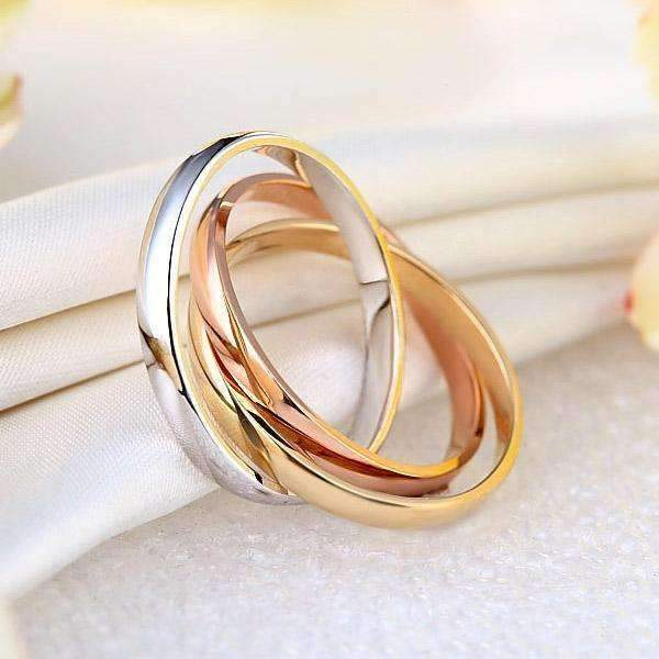 14k Mixed Golds Entwined Wedding Band Women Wedding Bands Oanthan